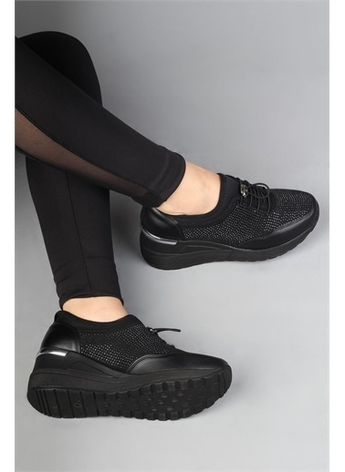 Modabuymus Modabuymus Dolgu nlı Esnek  Spor Ayakkabı Sneaker - Stonestar Siyah